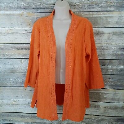 Denim & Co M 3/4 Sleeve Open Front Gauze Top Jacket Crochet Trim Orange Womens ()