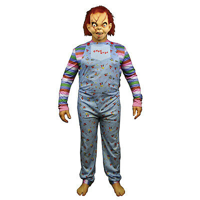 Baby Chucky Costumes (Adult Mens Chucky Child's Play Good Guy Horror Movie Cosplay Costume Jumpsuit)