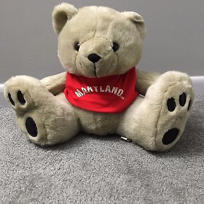 """Teddy Bear Toy Plush Red State of Maryland T-Shirt 10"""" tall soft toy"""
