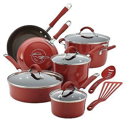 Nonstick Cookware Set 12 Pc Oven Safe Red Porcelain Enamel Lid Pots Rachel Ray