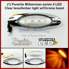 "1 Panelite Millennium 4 LED M1 Clear/ Amber marker light w/Chrome Bezel 6.5"""