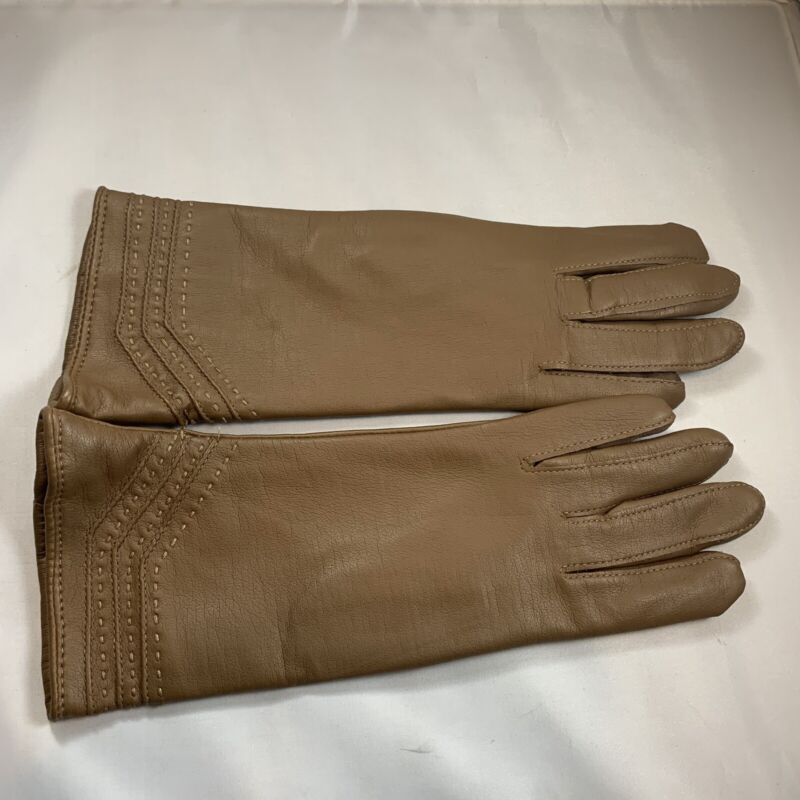 Vintage Brown leather Women's gloves size Small/medium Made In Taiwan - New