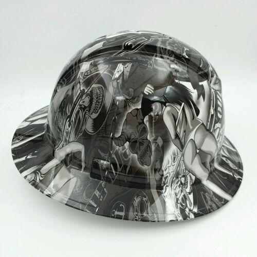 Hard Hat FULL BRIM custom hydro dipped , OSHA APPROVED , BIKER BABES WOW 2