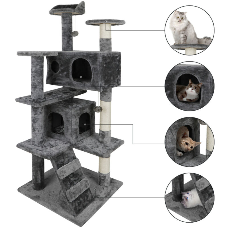"""53"""" Cat Tree Scratching Condo Kitten Activity Tower Playhouse W/ Cave & Ladders"""