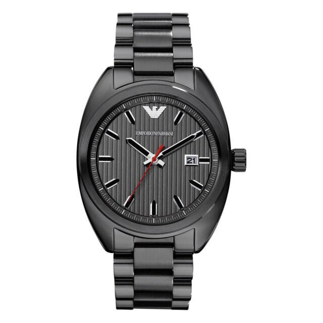 Emporio Armani Uhr AR5910 Herren Edelstahl Grau Armbanduhr Datum Quarz NEU