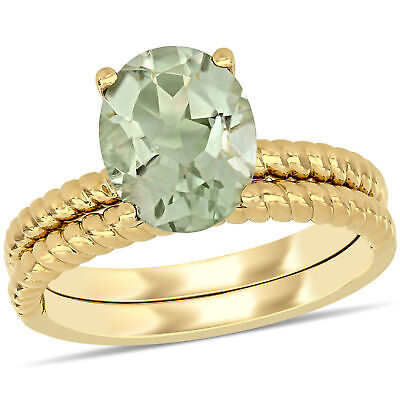 Amour 14k Yellow Gold Oval-cut Green Amethyst Solitaire Twisted Bridal Ring set ()