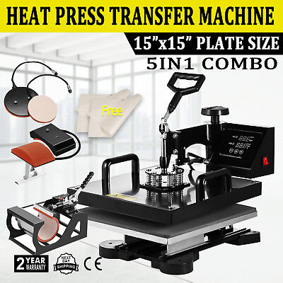 5in1 Combo T-shirt Heat Press Transfer 15x15 Pressing Machine Cap Swing Away