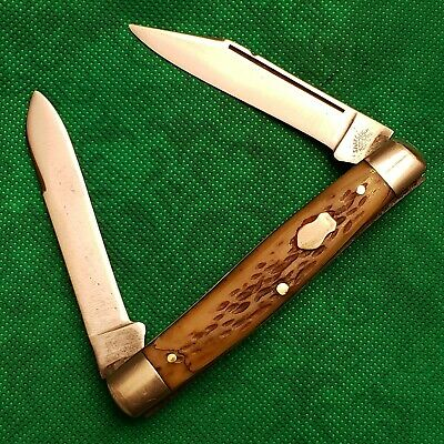 Old Vintage Shapleigh HDW DE Bone Stag Moose Pocket Knife Knives Lot D231