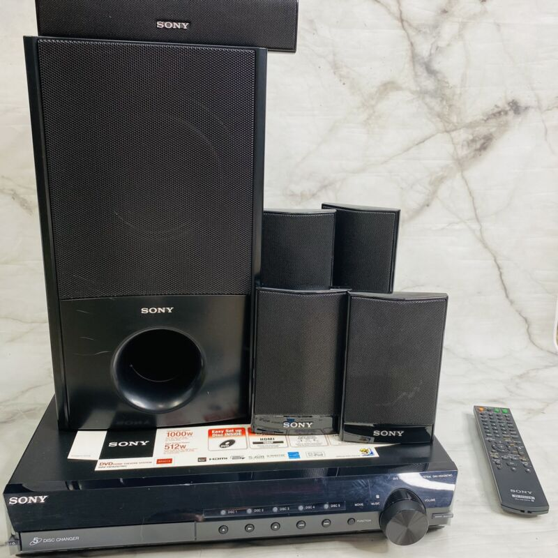 Sony DAV-HDX287wc 5-Disc DVD Home Theater System Subwoofer Speakers Remote
