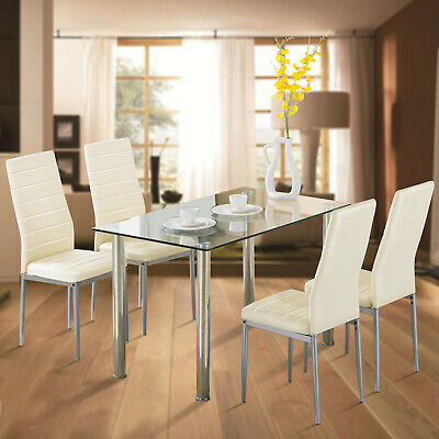 5 Piece Dining Table Set Tempered Glass Set w/ 4 Chairs for Kitchen Light Yellow