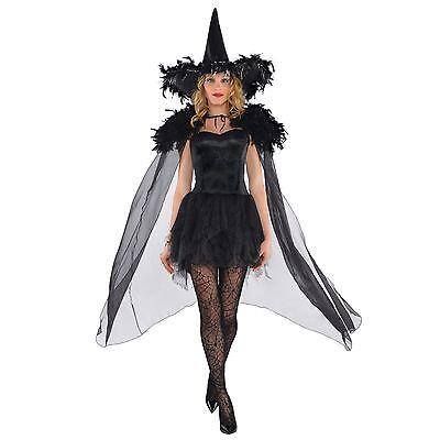 Hexen Cape (Erwachsene Feder Schultern schwarz hexencape Glanz Mantel Gothik Swan Halloween)