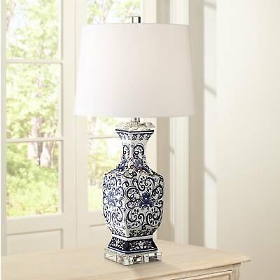 Asian Table Lamp Porcelain Blue Floral Jar White for Living Room Bedroom Jar Porcelain Table Lamp