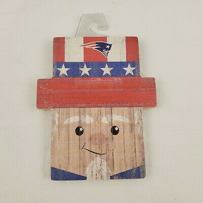 Uncle Sam and New England Patriots Wooden Sign Americana Patriotic NFL Decor ()
