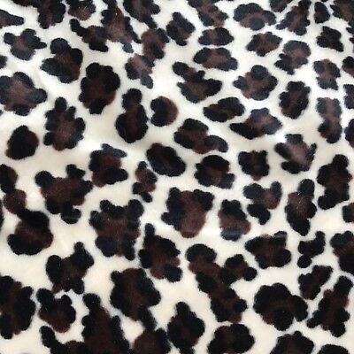 Lepoard Print Velour Poly Cotton Plush fabric 1 yd  x60