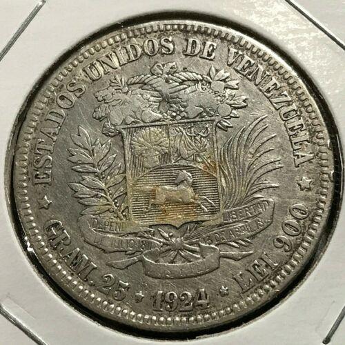 1924 VENEZUELA SILVER 5 BOLIVARS CROWN COIN