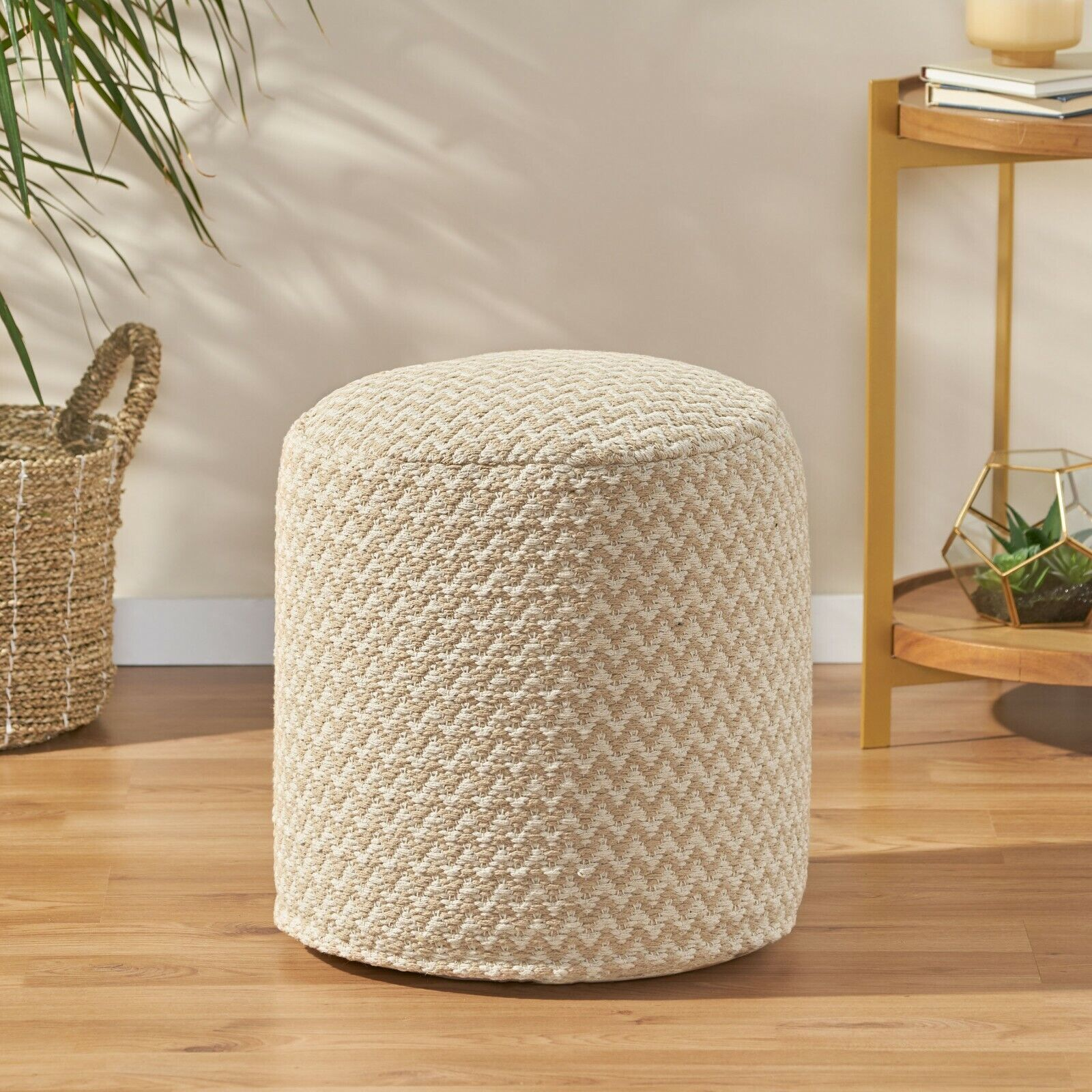 Quincee Boho Fabric Cylinder Pouf Furniture