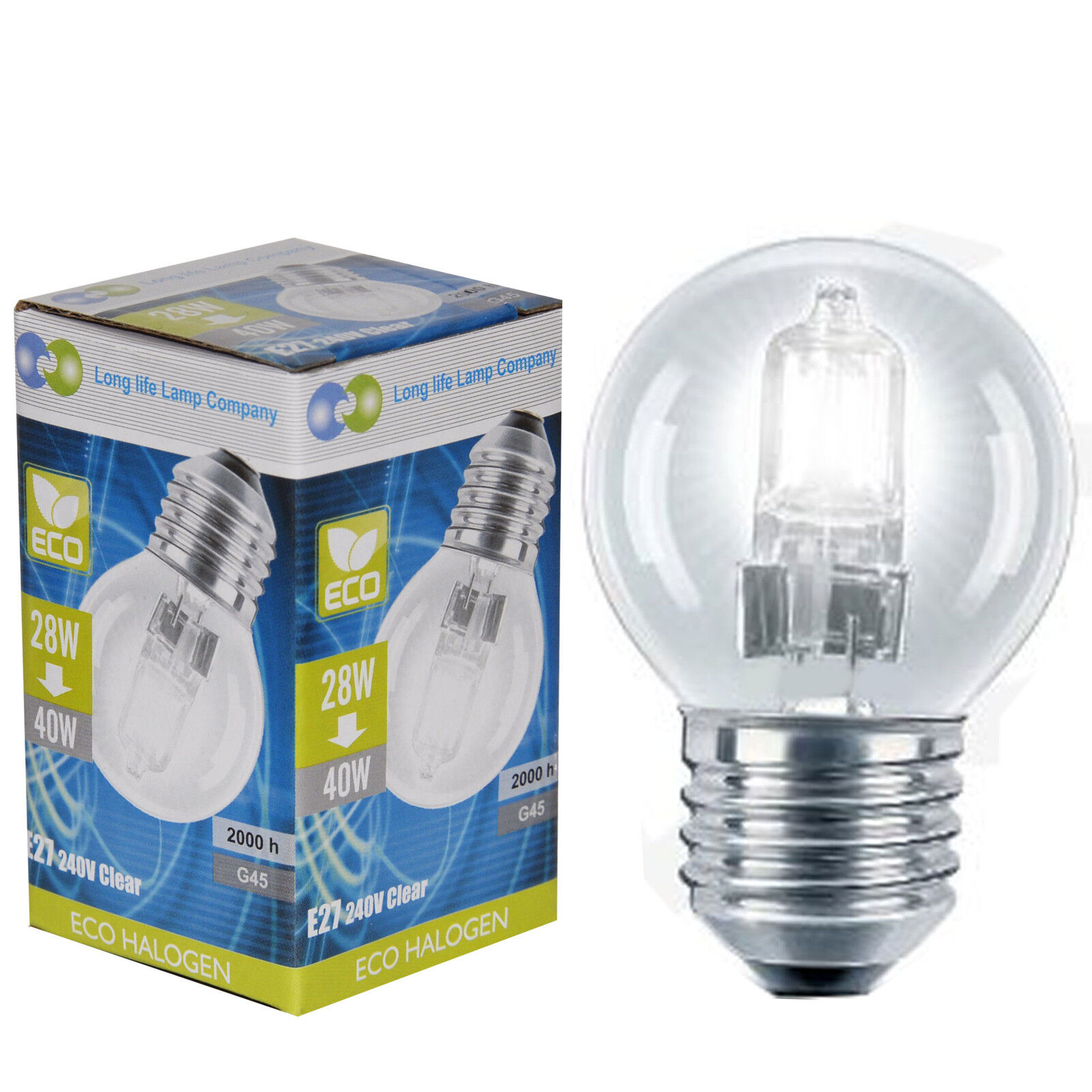4 Eco Halogen Energy Saving Golf Balls Light Bulb 28w 40w E27 Es Edison Screw Ebay
