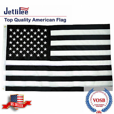 Black and White American Flag 3x5 Ft Embroidered Stars and Sewn Stripes US Flags - Black And White Flag