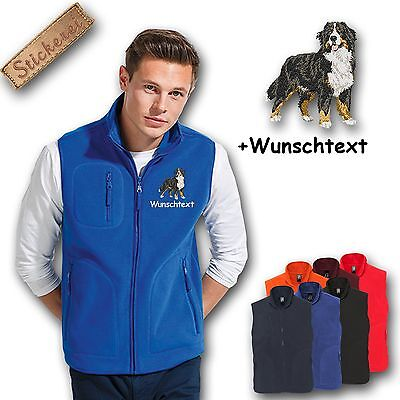 Fleece Vest Embroidered Embroidery Dog Bernese Mountain Dog + Name