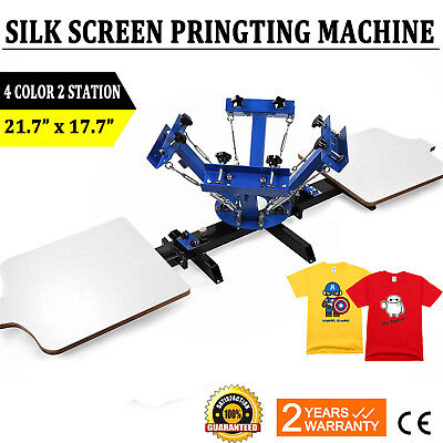 4 Color 2 Station Silk Screen Printing Machine Press Equipment T-shirt New