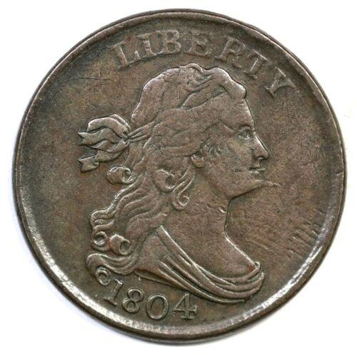 1804 C-8 Draped Bust Half Cent Coin 1/2c