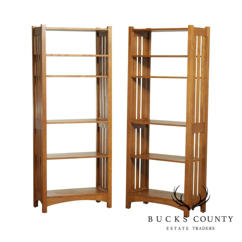 Stickley Mission Collection Oak Pair Open Bookcases