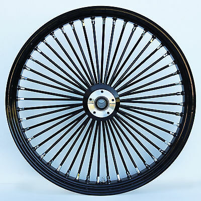 "Black/Black 48 King Spoke 21"" x 3.5"" Dual Disc Front Wheel for Harley and Custom"