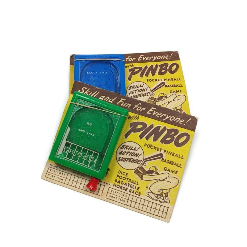 (2) Vintage Handheld Pinball Game Baseball Pin-Bo Inc Bagatelle Nos On Card
