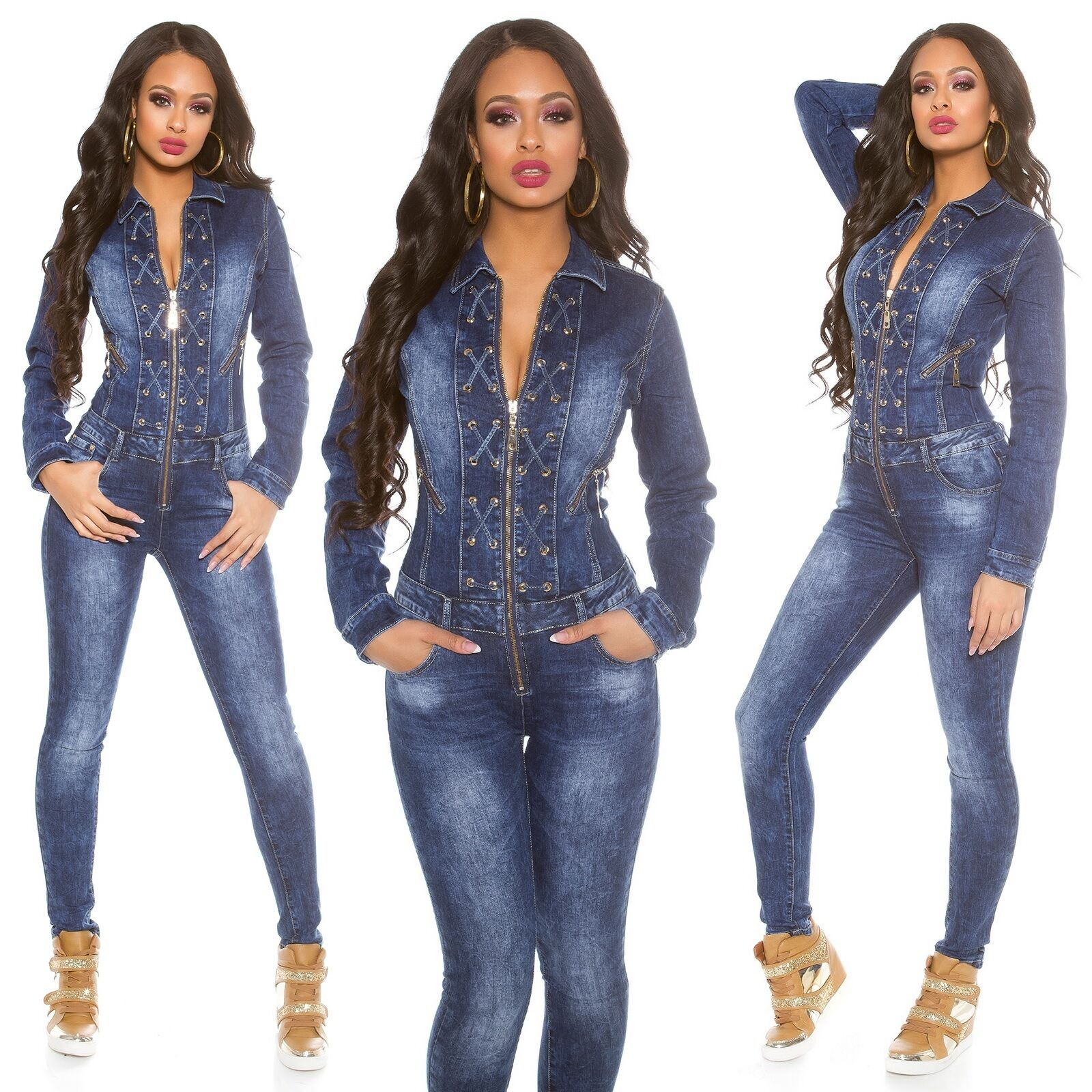 Women's Lace-Up Long Sleeve Denim Jeans Jumpsuit Overall ...