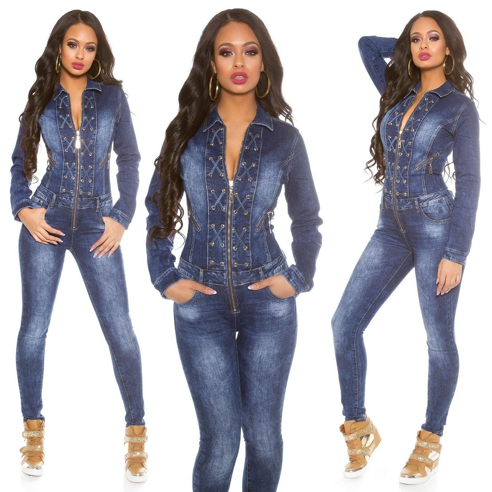 c71c69c695b Women s Lace-Up Long Sleeve Denim Jeans Jumpsuit Overall - XS S M L ...