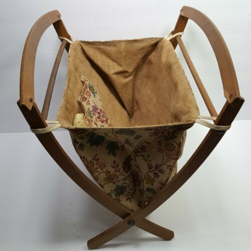 Vintage Sewing Knitting Basket Folding Tote Wood Fabric Curved Floral 1950