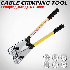 New 6-50mm² Electrical Cable Crimper Rotate Crimping Tool Battery Lug 6 Dies