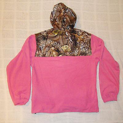 HOT Pink Camo Fleece Zippered Hoodie Camoflauge Hooded Sweatshirt Women's XL