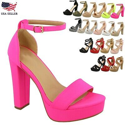 New Women's Ankle Strap Fashion Platform Chunky Sandals Party Dress High Heel ()