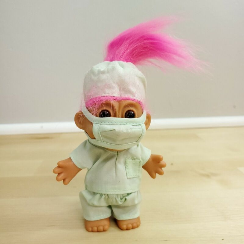 Vintage Russ Troll Doll ~ Doctor with Scrubs ~ Surgeon Mask ~ Pink Hair ~ 90s
