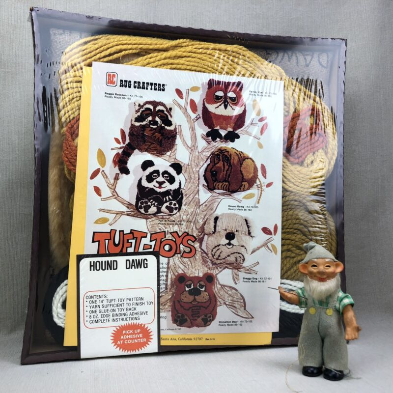 """Hound Dawg TUFT-TOYS Vintage 1976 Tufting Kit Rug Crafters 14"""" Tuft Toys"""