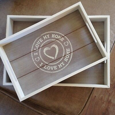 Shabby Chic White and Limed wood set of 2 Serving Trays