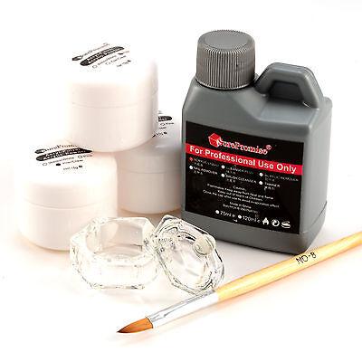 Acryl Starterset Puder 15g klar, weiß, rose Set Acryl Liquid Pinsel