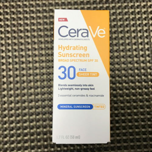 CeraVe Hydrating Tinted Mineral Face Sunscreen SPF 30 1.7 Oz Sheer Tint
