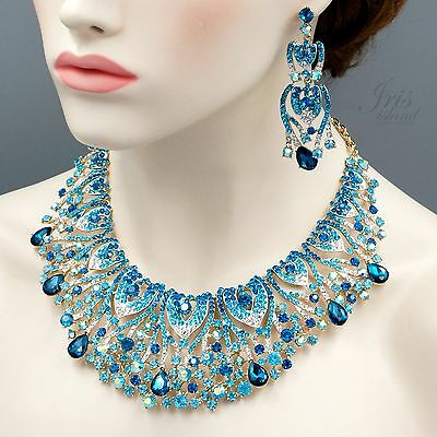 Huge Gold Plated GP Aqua Blue Crystal Necklace Earrings Wedding Jewelry Set 4157