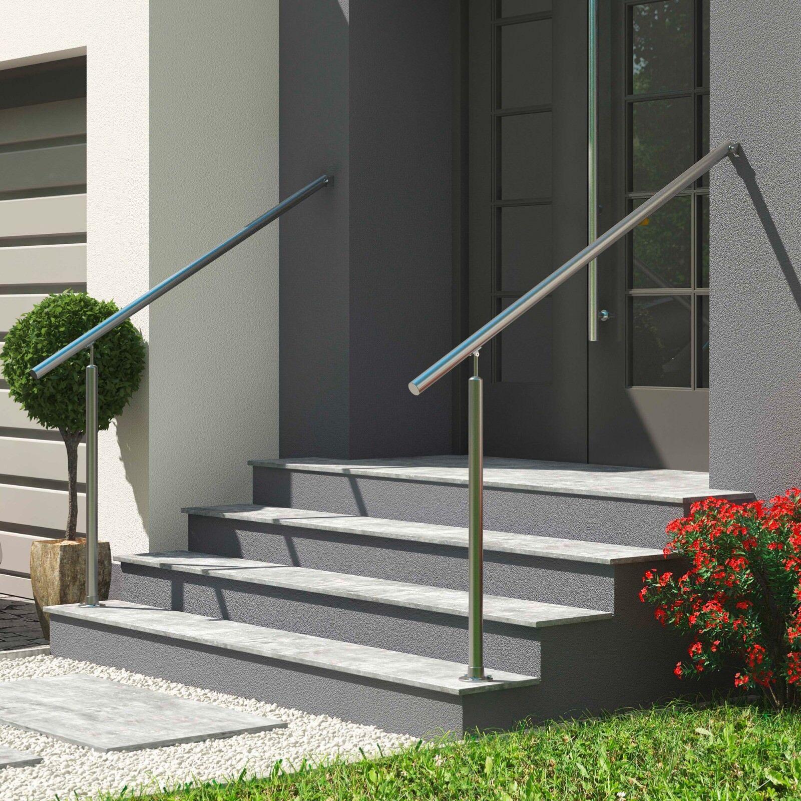 seitliche Montage DOLLE Eingangsgel/änder L/änge 1,5 m; H/öhe 1 m Gel/änder Edelstahl Hauseingang 1 Pfosten /& Wandanschluss