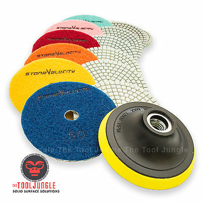 Wet Dry Diamond Polishing Pads 4 Inch Set Kit Granite Marble Concrete 9 Piece