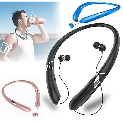 Sweatproof Stereo Neckband Headset Wireless Bluetooth 5.0 Retractable Headphones Black Retractable Headphone