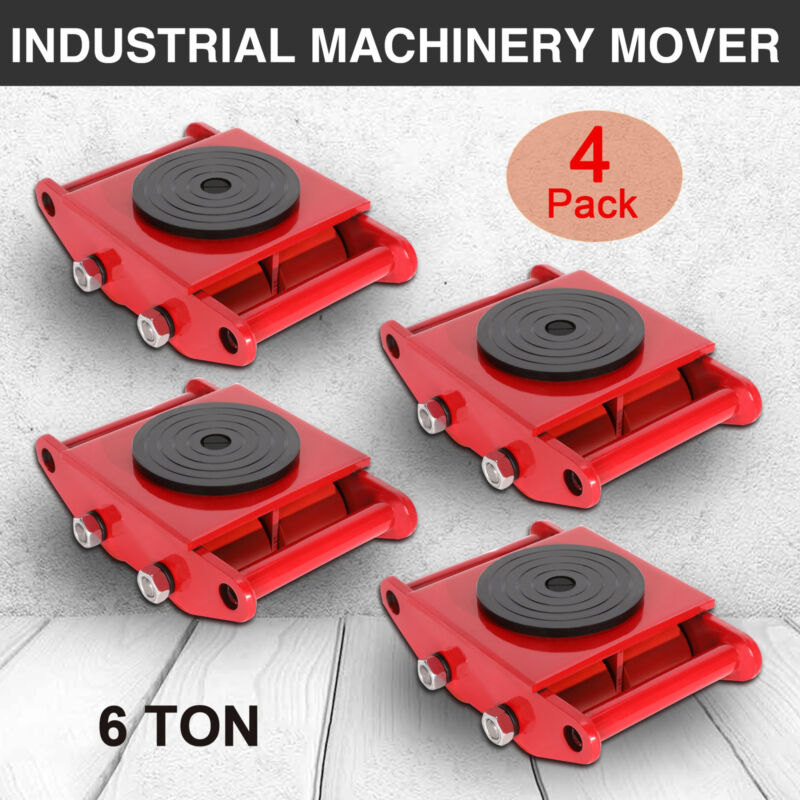 4 PCS 6T Red Industrial Machinery Mover W/Skate Roller 360°Rotation Cap Straight