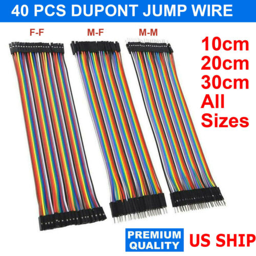 Dupont Cable Jumper Wire 10 20 30 cm F-M F-F M-M For Breadboard Arduino USA