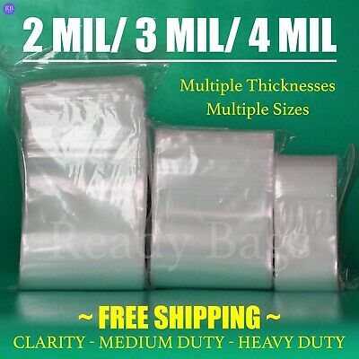 Clear Zip Lock Top Bags 2mil 3mil 4mil Poly Plastic Seal Reclosable Baggies