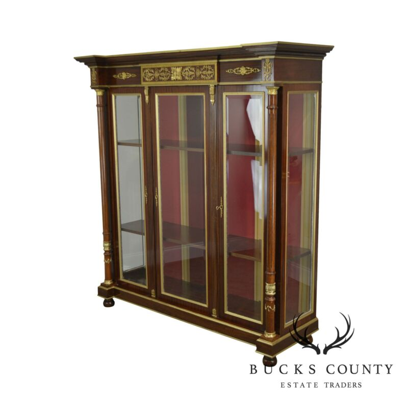 French Empire Style Mahogany 3 Door Breakfront Bookcase Cabinet