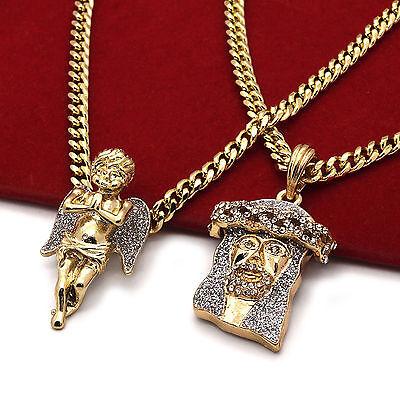 "Men's 14k Gold Plated High Fashion 2 pcs Cz Jesus & Angel 3mm 30"" & 24"" Cuban 2s"