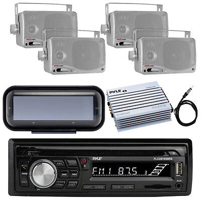 Pyle Bluetooth Marine Radio MP3/USB CD + Cover, 4CH Amp, 4x Box Speaker, Antenna for sale  Shipping to India