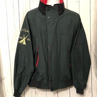"""Vintage NAUTICA Challenge J-Class Jacket Green Red Competition Men's """"Size XL"""""""